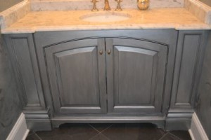 After - Antiqued Silver Cabinet Refinished