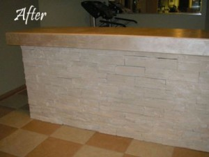 After - Limewashed and lusterstone bar
