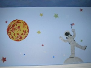 Astronaut stenciled border