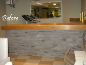 Before - Limestone and oak bar