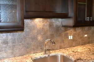 Embossed Silver Leaf Faux Tiles