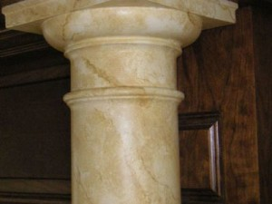 Marbled fiberglass column