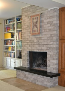 Fireplace bricks after refinishing