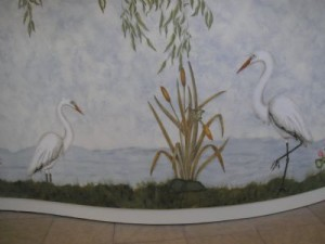 Pond mural Stenciling