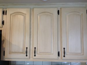 Close-up Painted & Distressed Cabinetry